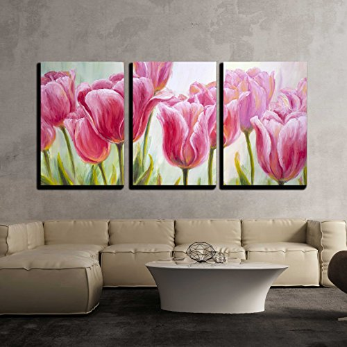 wall26 - 3 Piece Canvas Wall Art - Tulips, Oil Painting on Canvas - Modern Home Decor Stretched and Framed Ready to Hang - 24