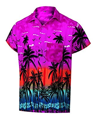 Virgin Crafts Hawaiian Shirts for Men Casual Button Down Short Selvee Beach Party Alloha Shirt