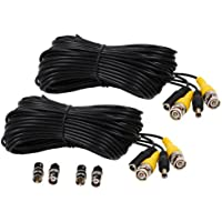 VideoSecu 2 Pack 100ft feet Video Power Cables BNC RCA Security Camera Extension Wires Cords for CCTV DVR Home Surveillance System with bonus Adapters 1Q7