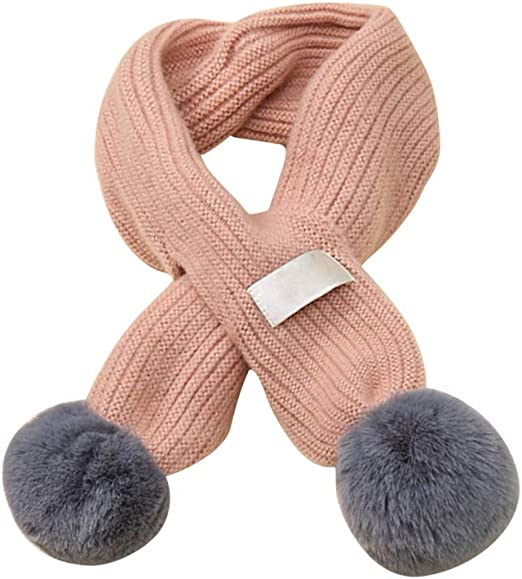 Queena Kids Soft Warm Knitted Scarf Solid Color Toddler Neck Warmer,Grey