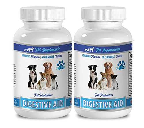 (digestive support for dogs - ADVANCED FORMULA - DIGESTIVE AID - PET PROBIOTICS - FOR DOGS - silica for dogs - 2 Bottle (120 Chewable Tablets))