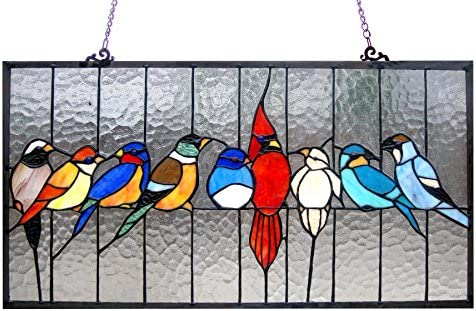 Chloe Lighting Tiffany Style Featuring Birds in The Cage Window Panel