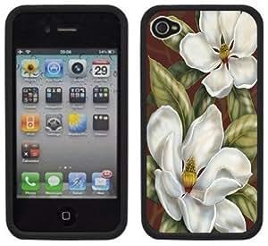 Magnolias Flowers Handmade iPhone 4 4S Black Hard Plastic Case