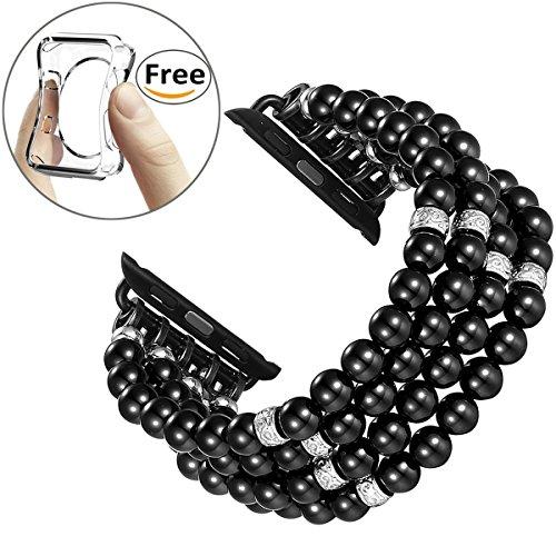 Fastgo Strap for Apple Watch, Fashion Handmade Beaded Elastic Stretch Faux Pearl Bracelet Replacement iWatch Strap Women Girls for Apple Watch Series (Black-42mm) (Bead Watch Band)