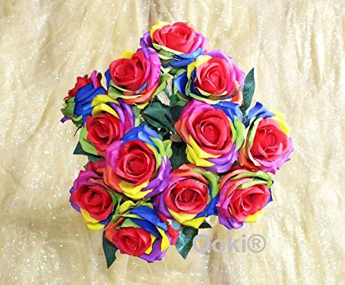 (Ooki 12 Long Stem Artificial Silk Rainbow Rose Flower Bush Bouquet for DIY Any Arrangement Home Decor Wedding Party Celebration)