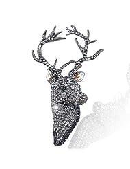 Christmas Gold-Tone Stag Head Brooch Black Austrian Crystal N02201-5