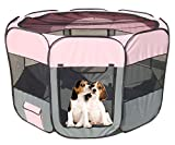 All-Terrain' Lightweight Easy Folding Wire-Framed Collapsible Travel Pet Playpen, Large, Pink And Grey