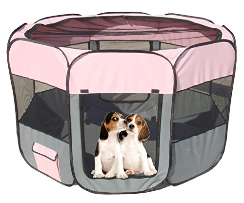 PET LIFE 'All-Terrain' Lightweight Easy Folding Wire-Framed Collapsible Travel Pet Dog Playpen crate, Large, Pink And Grey