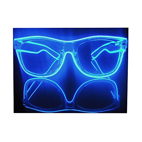 El Wire Multi-color Glasses Light Up Clear Wayfarer Led Rainbow Glasses for Festival Rave Party Gift (1, Clear glasses:blue)
