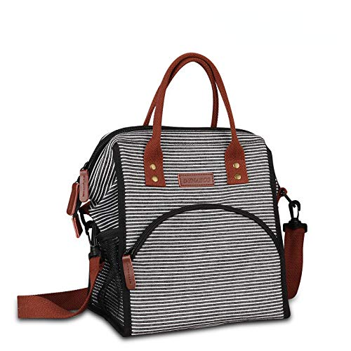 Dynasco Insulated Lunch Box With Shoulder Strap for Men Women Kids,Durable Thermal Cooler Lunch Tote Bags Wide-Open Reusable Large Lunch Bag for Work Picnic School (Stripe)