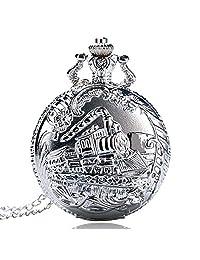 Pocket Watch, Silver Train Head Travel Railway Pattern Pocket Watch for Men, Pocket Watch Gift - Ahmedy Pocket Watch
