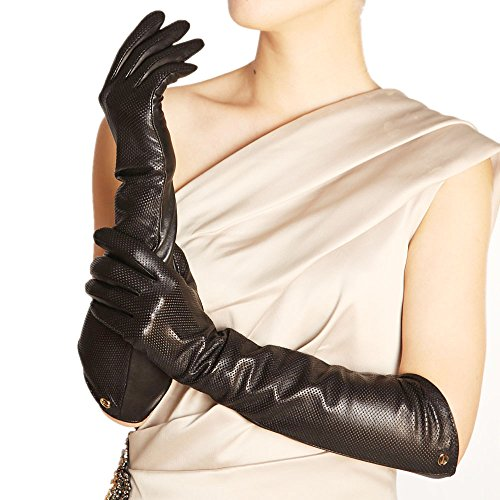 ELMA Lady's Eblow Long Nappa Leather Driving Gloves Gold Plated Logo (M, Black)