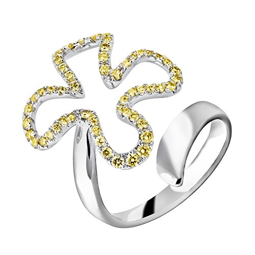 18k Midi Ring solid white gold with natural Fancy yellow diamond - Hk Solid Gold