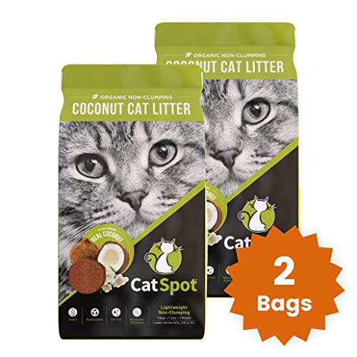 CatSpot Litter, Non-Clumping Formula: Coconut Cat Litter, Biodegradable, All-Natural, Lightweight & Dust-Free (2 Bags)