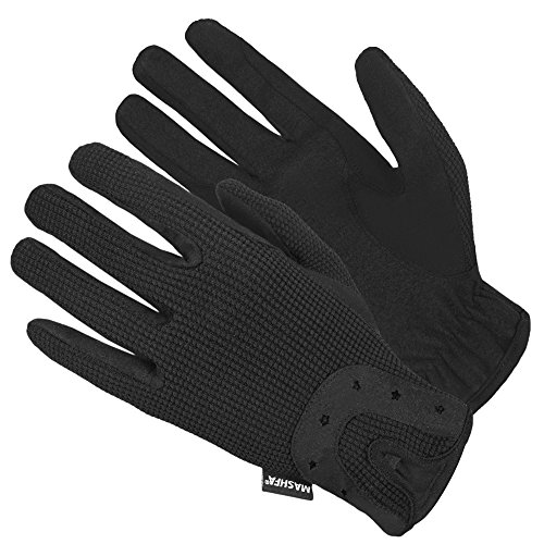 Ladies Women Horse Riding Gloves Cotton Dublin Track Fabric Shires Gloves Leather Equestrian 1 YEAR WARRANTY Gloves (Medium) - Black Leather Riding Gloves