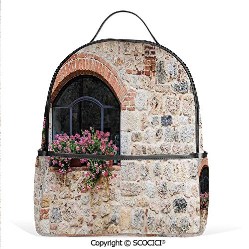 Hot Sale Backpack outdoor travel Gothic Architecture Abandoned Old Stone House Vintage Stairs in Tuscany,Ivory Pink and Salmon,With Water Bottle Pockets