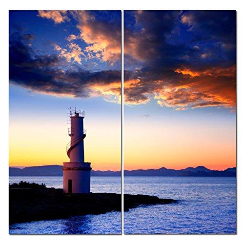 Canvas Wall Art Decor - 12x24 2 Piece Set - Sunset Sea Light