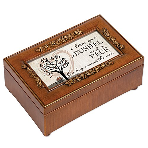 I Love You A Bushel & A Peck Wood Finish Rose Jewelry Music Box - Plays Tune You Light Up My Life