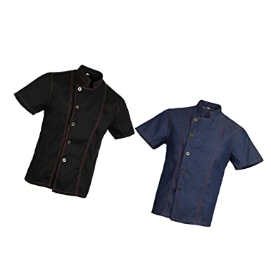 Amazon.com: MagiDeal 2 Pieces Denim Chef Jacket Coat Short ...