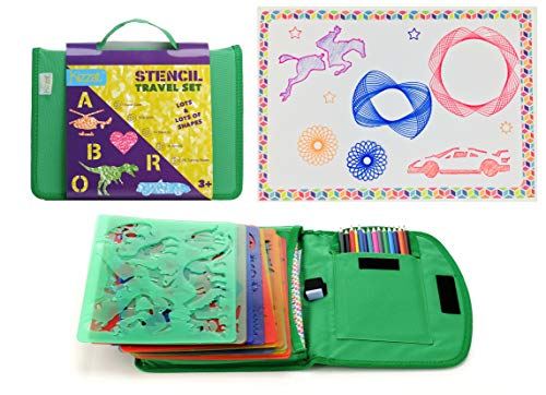 Kids Stencil Drawing Art Set with Colored Pencils, Templates, Sharpener and Bonus Spiralgraph Stencil Kit ()