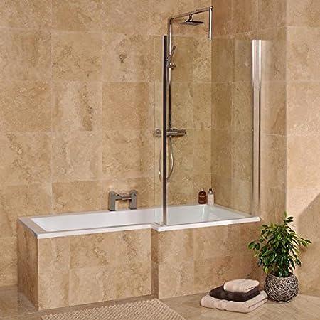 Shower Bath Tub L Shape Acrylic White 1500 Right Hand Bathtub ...