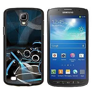 LECELL--Funda protectora / Cubierta / Piel For Samsung Galaxy S4 Active i9295 -- vidrio luces futuristas azul de mármol negro --