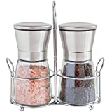 Salt and Pepper Grinders with Stand - Spice Mill with Adjustable Coarseness - Brushed Stainless Steel Salt and Pepper Mill Set (66X138mm) by Revat Kitchenware