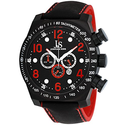 Joshua and Sons Chronograph Black Dotted Pattern Dial Black Leather Mens Watch JS-14-RD