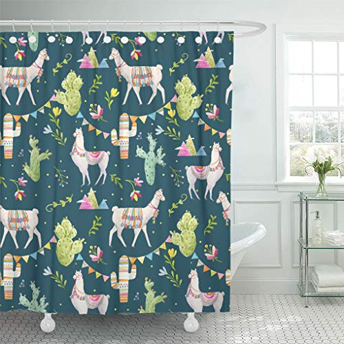 Emvency Shower Curtain Green Lama Watercolor Pattern Tibetan Llama Cacti Flags Shower Curtains Sets with Hooks 72 x 72 Inches Waterproof Polyester Fabric