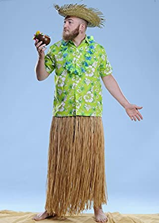 Mens larga paja Hula falda de hierba: Amazon.es: Juguetes y juegos