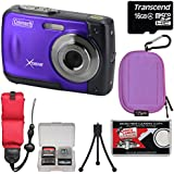 Coleman Xtreme C20WP Shock & Waterproof HD Digital Camera (Purple) with 16GB Card + Case + Floating Strap + Tripod + Kit