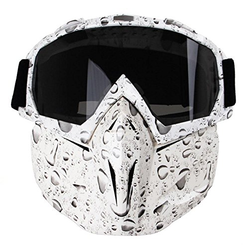 Motorcycle Goggles Mask, Aolvo Windproof Face Mask Goggles Multipurpose for Airsoft/ CS/Paintball/Skiing/Riding/Snowmobile/Cycling for Kids and Adult - Bead White