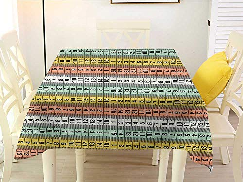 L'sWOW Patterned Square Tablecloth Pastel Fashion Couture Horizontal Measuring Tape Tailor Pattern Illustration with Numbers Multicolor Fringe 70 x 70 Inch