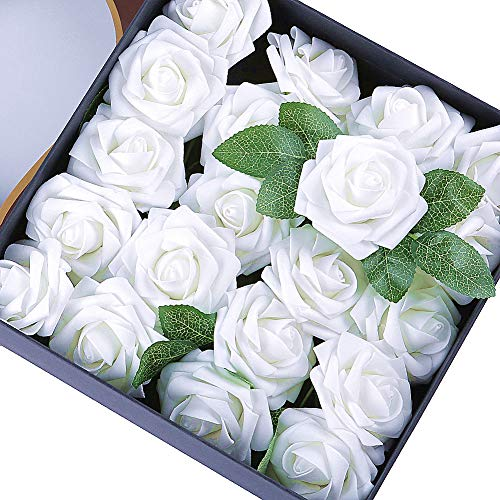 Egles Artificial Flower 20pcs Fake Flowers with Stems, White Rose for Gif DIY Wedding Centerpieces Arrangements Birthday Home Party Bouquets Decor