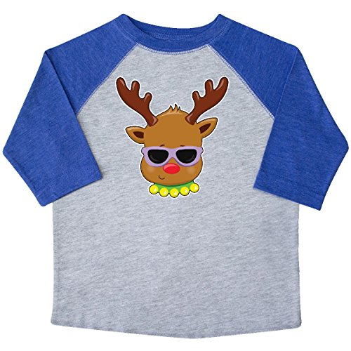 inktastic Reindeer Head With Sunglasses Toddler T-Shirt 2T Heather and - 4034 Sunglasses
