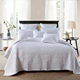 Moldiy Bedspread Sets,100% Cotton Solid Color Quilting Set 3 Piece Bedding Set,Comforter Set,White Perry,King