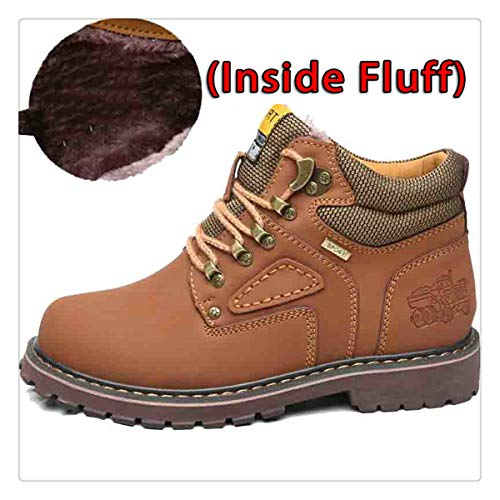 Anghuluqub Super Warm Men's Winter Leather Men Waterproof Rubber Snow Boots Leisure Boots England Retro Shoes for Men Big Size Fluff Light Brown 7.5 ()