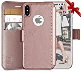 LUPA iPhone Xs Wallet case, iPhone X Wallet Case, Durable and Slim, Lightweight with Classic Design & Ultra-Strong Magnetic Closure, Faux Leather, Rose Gold, for Apple iPhone Xs/X