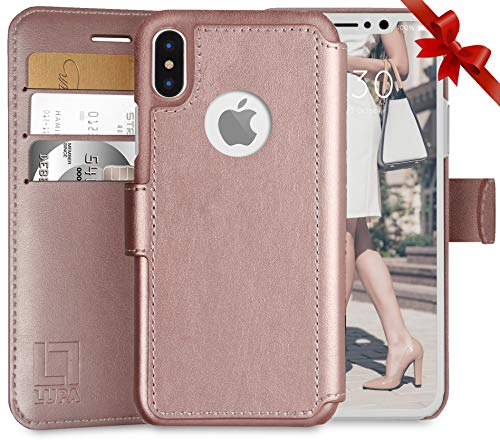 - LUPA iPhone Xs Wallet case, iPhone X Wallet Case, Durable and Slim, Lightweight with Classic Design & Ultra-Strong Magnetic Closure, Faux Leather, Rose Gold, for Apple iPhone Xs/X
