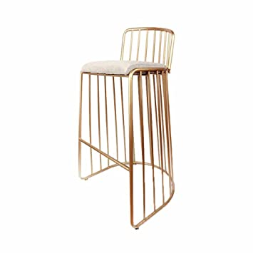 Amazon.com: Bar Stools Chair Metal Gold Backrest Footrest Kitchen ...