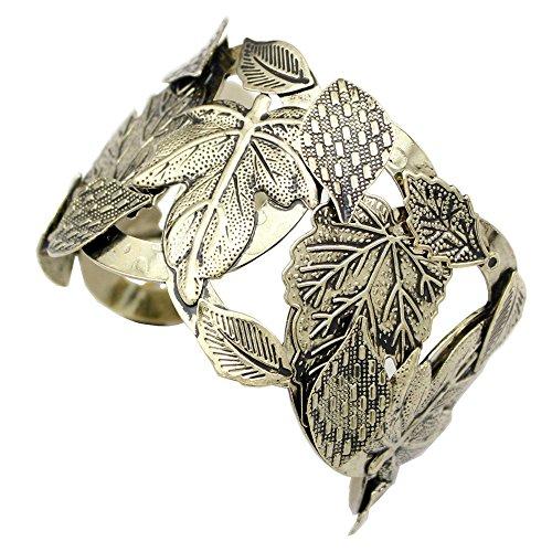 Q&Q Fashion Vintage Gold Repousse Leaf & Stem Costume Aztec Style Ornate Bold Bracelet Bangle Cuff