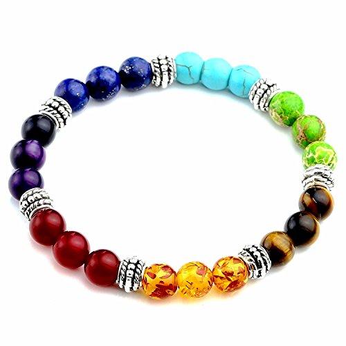 - 7 Chakra Semi Precious Stone Bracelet Chakra Ctystal Healing Balancing Reiki Yoga Jewelry Bracelet