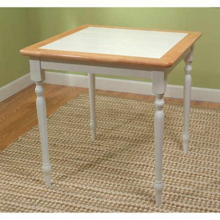 Amazon.com - Tile-Top Dining Table, White/Natural Finish ...