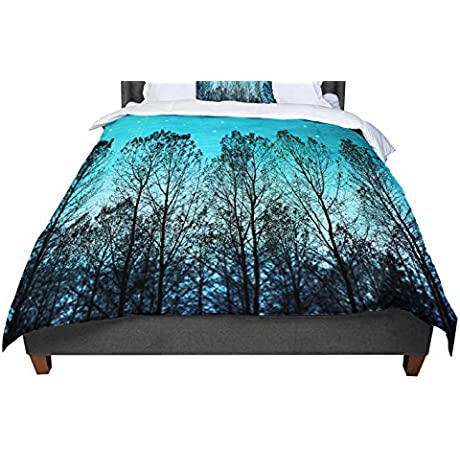 KESS InHouse Sylvia Cook Dark Forest Blue Trees Twin Comforter 68 X 88