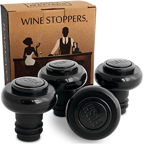 Barvivo Wine Saver Stoppers in Black, Set of 4. (Chicago Themed Gift Baskets)
