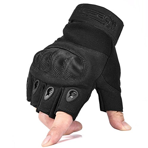 Reebow Gear Military Fingerless Hard Knuckle Tactical Gloves Half Finger for Motorcycle Driving Riding Army Gear Sport Shooting Airsoft Paintball Black M