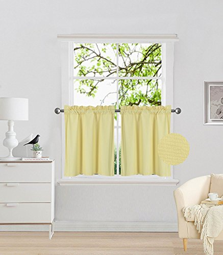 Fancy Collection 2 Panel Yellow Bedroom Curtains Blackout Draperies Thermal Insulated Solid Rod Pocket Top Drapes for Kid's Room, Bathroom, Kitchen Privacy Window Dressing New (Tier Curtains Yellow)
