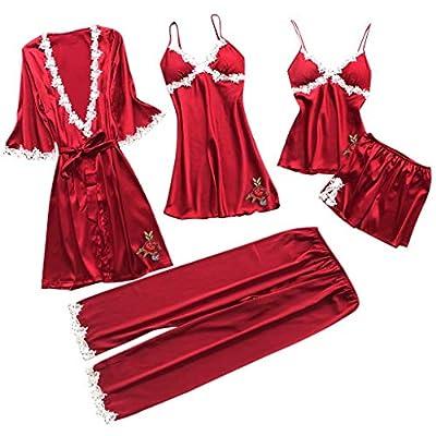 RAINED-Women Silk Pajamas Set Sexy Lace Lingerie Nightwear Underwear Babydoll Sleepwear Dress 5PC Suit