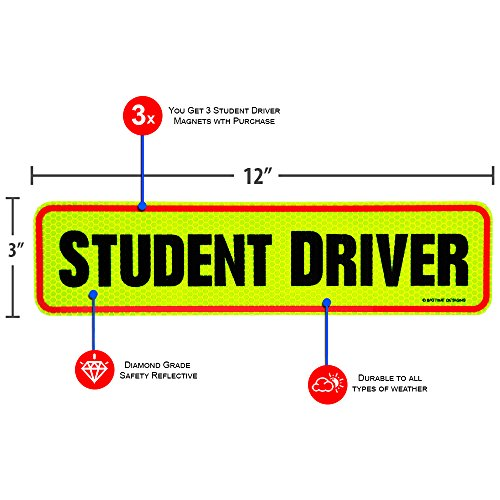 Reflective Magnetic Large Bold Visible Text 12 Student Driver Reflective Reusable Student Driver Magnet Car Signs for The Novice or Beginner Better Than A Decal or Bumper Sticker