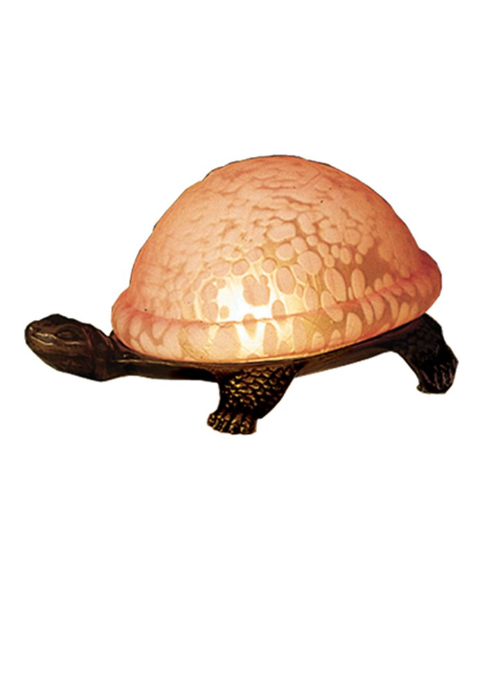 Meyda Tiffany 18005 Turtle Art Glass Accent Lamp, 4'' H